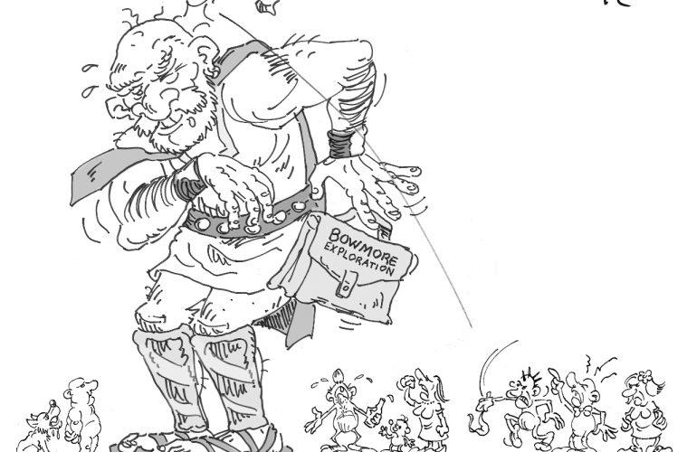 Quand Goliath se frotte à St-Camille. Caricature: Alexandre April